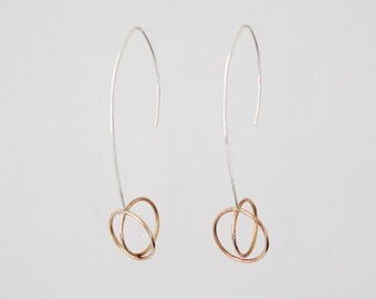 Mixed Metal Wire Earrings, Geometric Sterling Silver and Bronze Earrings