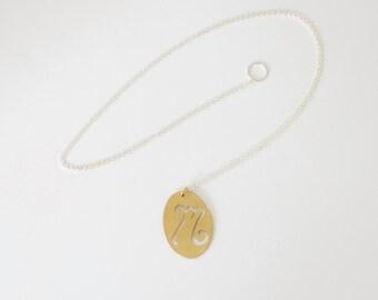 Custom Monogram Pendant, Hand Drawn Unique Monogram Necklace
