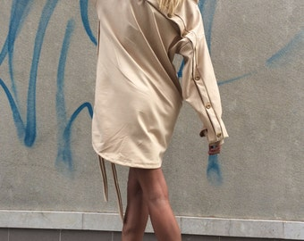 Plus Size Loose Tunic, Asymmetric Beige Dress, Maxi Tunic Top, Extravagant Long Sleeves, Fashion Style by SSDfashion
