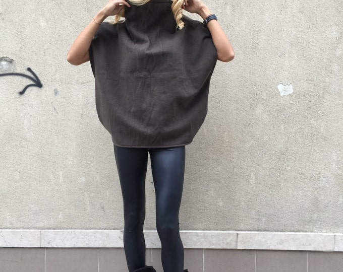 Brown Cashmere Warm Blouse, Cashmere Poncho Coat, Turtleneck Extravagant Top, Oversized Blouse By SSDfashion
