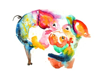Buy 2 Get 1 FREE! Pig painting print Original LIMITED Edition Signed Watercolour Thick 300 gsm farm animals posting worldwide