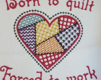 Patched Heart embroidery design/ Heart embroidery design