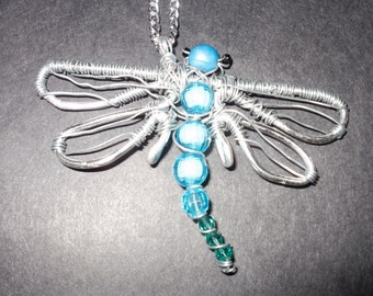 Beautiful Dragonfly Wire Wrapped Pendant