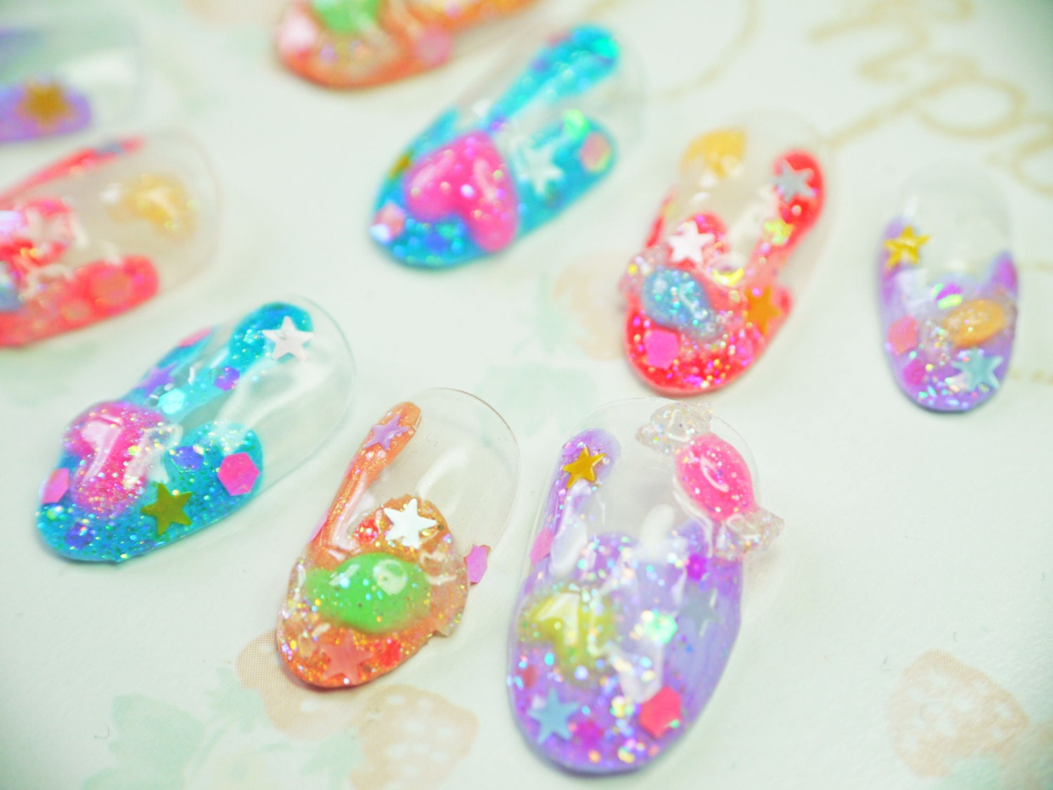 Japanese Kawaii Halloween 3D nail art false nail fake nails