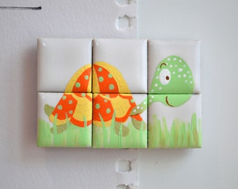 Hand painted Tortoise ceramic tile puzzle magnets