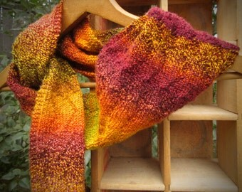 Autumn Colors hand-knit wool scarf washable hand-dyed natural new gold wine brown green orange handmade unique reversible
