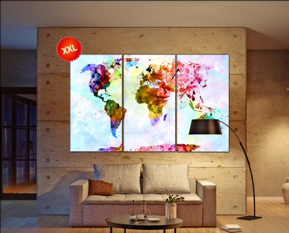 world wall map  print on canvas wall art canvas wall art world wall map print art artwork large world map Print home office decoration