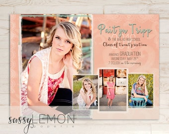 Paityn Graduation Announcement - Coral, Peach, Trendy, Class of 2016