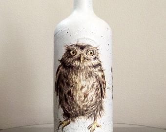 Owl design Vintage Bottle