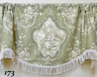 Richloom Day Dream Olive Green-Scalloped Window Valance / Bullion Fringe Trimmed or Corded Bottom /French Country Toile /Shabby Cottage Chic