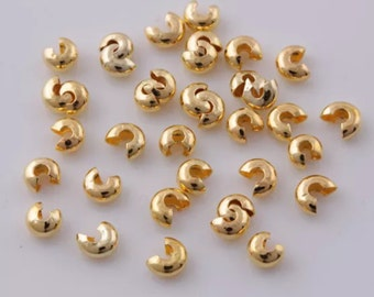 GOLD 3mm Crimp covers, crimp covers, gold crimp bead, SS213, Ships USA