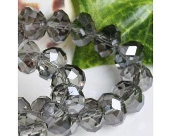 12-8x6mm Swarovski crystal Gray AB Rondelles, 8x6mm Swarovski Crystal  beads, 8mm Greige AB Swarovski Crystal  Rondelles,204 USA