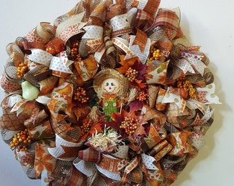The Scarecrow Deco Mesh Fall Wreath