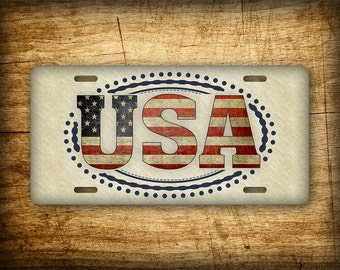 Americana USA License Plate Patriotic Vintage Antique American Auto Tag July 4th Independence Day Rustic Primitive