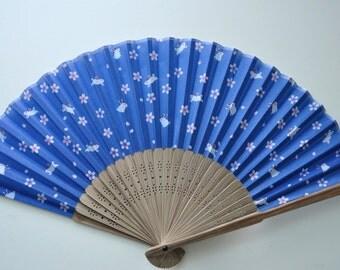 wedding hand fan,Blue Rabbit Hand Fan -Handheld Folding Fan, Japanese Hand Fan ,girls hand fan,kids hand fan ,folding fan
