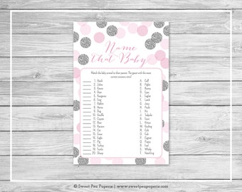 Pink and Silver Baby Shower Name That Baby Game - Printable Baby Shower Name That Baby Game - Pink and Silver Glitter Baby Shower - SP123