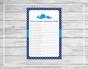 Whale Baby Shower Who Knows Mommy Best Game - Printable Baby Shower Who Knows Mommy Best Game - Blue Whale Baby Shower - Shower Game - SP127