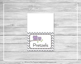 Owl Baby Shower Buffet Labels - Printable Baby Shower Buffet Labels - Purple Owl Baby Shower - Owl Shower- Food Labels - EDITABLE - SP136