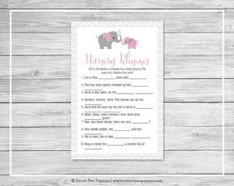 Elephant Baby Shower Nursery Rhyme Game - Printable Baby Shower Nursery Rhyme Game - Pink and Gray Elephant Baby Shower - SP101