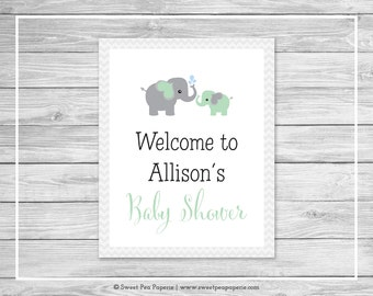 Elephant Baby Shower Welcome Sign - Printable Baby Shower Welcome Sign - Green and Gray Elephant Baby Shower - EDITABLE - SP104