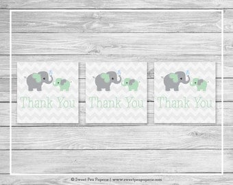 Elephant Baby Shower Favor Thank You Tags - Printable Baby Shower Thank You Tags - Green and Gray Elephant Baby Shower - SP104