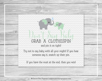 Elephant Baby Shower Don't Say Baby Game - Printable Baby Shower Don't Say Baby Game - Green and Gray Elephant Baby Shower - SP104