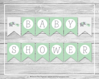 Elephant Baby Shower Banner - Printable Baby Shower Banner - Green and Gray Elephant Baby Shower - Baby Shower Banner - EDITABLE - SP104