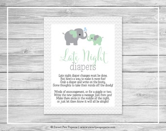 Elephant Baby Shower Late Night Diapers Sign - Printable Baby Shower Late Night Diapers - Green and Gray Elephant Baby Shower - SP104
