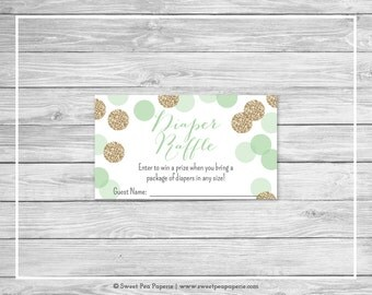 Mint and Gold Baby Shower Diaper Raffle Insert - Printable Baby Shower Diaper Raffle Cards - Mint and Gold Glitter Baby Shower - SP108