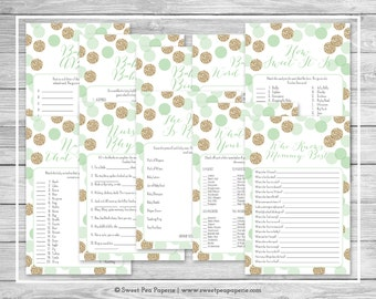 Mint and Gold Baby Shower Games - 10 Printable Baby Shower Games - Mint and Gold Glitter Baby Shower - Baby Shower Games Package - SP108