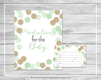 Mint and Gold Baby Shower Predictions for Baby - Printable Baby Shower Predictions for Baby - Mint and Gold Glitter Baby Shower - SP108
