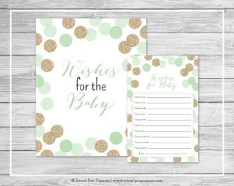 Mint and Gold Baby Shower Wishes for Baby Cards - Printable Baby Shower Wishes for Baby Cards - Mint and Gold Glitter Baby Shower - SP108
