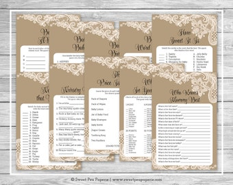 Tan and Lace Baby Shower Games - 10 Printable Baby Shower Games - Tan and Lace Baby Shower - Baby Shower Games Package - SP112