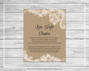 Tan and Lace Baby Shower Late Night Diapers Sign - Printable Baby Shower Late Night Diapers - Tan and Lace Baby Shower - SP112