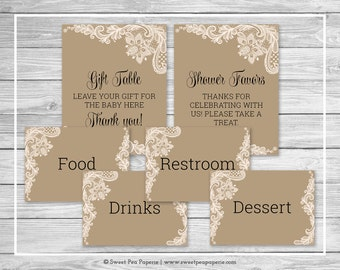 Tan and Lace Baby Shower Table Signs - Printable Baby Shower Table Signs - Tan and Lace Baby Shower - Table Signs - EDITABLE - SP112