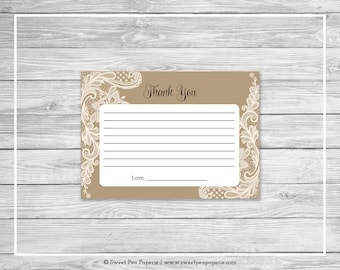 Tan and Lace Baby Shower Thank You Cards - Printable Baby Shower Thank You Cards - Tan and Lace Baby Shower - Thank You Cards - SP112