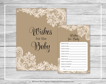 Tan and Lace Baby Shower Wishes for Baby Cards - Printable Baby Shower Wishes for Baby Cards - Tan and Lace Baby Shower - SP112
