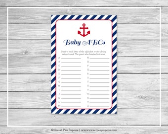 Nautical Baby Shower Baby ABCs Game - Printable Baby Shower Baby ABCs Game - Navy Red Baby Shower - Baby ABCs Game - SP118