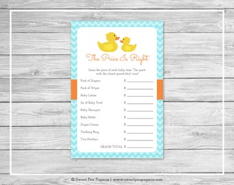 Rubber Ducky Baby Shower Price Is Right Game - Printable Baby Shower Price Is Right Game - Rubber Duck Baby Shower - Price Is Right - SP122