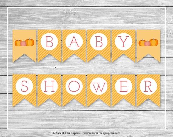 Pumpkin Baby Shower Banner Printable Baby Shower Banner Pumpkin