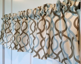 Waverly home decor blue and brown lattice Curtain Valance 54 wide