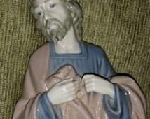 Lladro Nao Daisa Spain Hand Painted Fine Porcelain China Christmas Nativity Set Figurine Joseph from Holy Family Spanish Pottery Ceramics