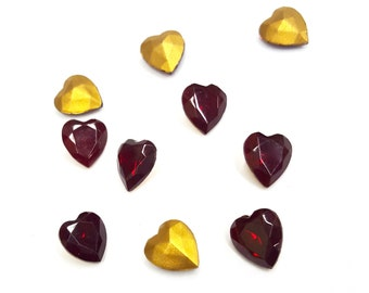 SALE 36 Pieces Glass Heart Stones, Siam Ruby Red, Gold Foil on Back, Vintage, 9x8mm
