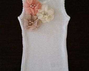 White embellished baby girl singlet.White singlet. Handmade singlet. Embellished baby singlet