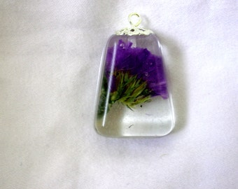 Small Purple Wildflower Resin Pendant