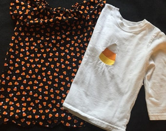 Candy corn dress and shirt