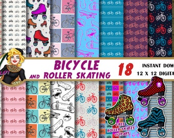 Bicycle digital paper, roller skate clipart, skateboard paper, rollerskating, roller derby, party, Scrapbooking paper, backgrounds, patterns