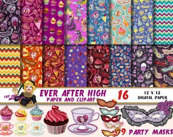 Ever After High clipart, Ever After High clipart, Ever After High digital paper, mask clipart, birthday clipart, Scrapbooking Paper,patterns