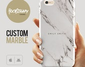 Custom Name Marble Phone case, personalised marble iPhone 6s case, 6 Plus, 5C, 5S, SE case, personalized Galaxy S6, S7, S5 cell phone cover,