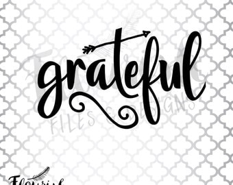 Grateful Arrow |  Digital Cut File (SVG, PNG, PDF) Script Flourish